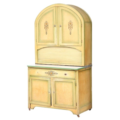 Southwest Style Painted Arched Bakers Cabinet w/ Enameled Work Surface, Mid 20th