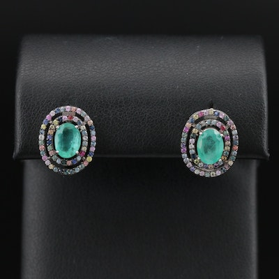 Sterling Emerald Earrings with Double Sapphire Haloes