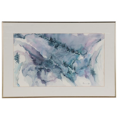 Rosamond Groves Watercolor Painting of Abstracted Mountains