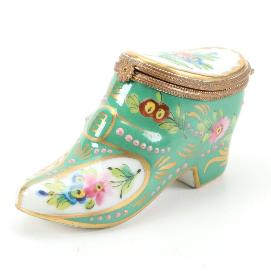 French Hand-Painted Porcelain Shoe Trinket Box