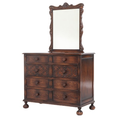 American Furniture Co. Jacobean Style Carved Oak Four-Drawer Dresser