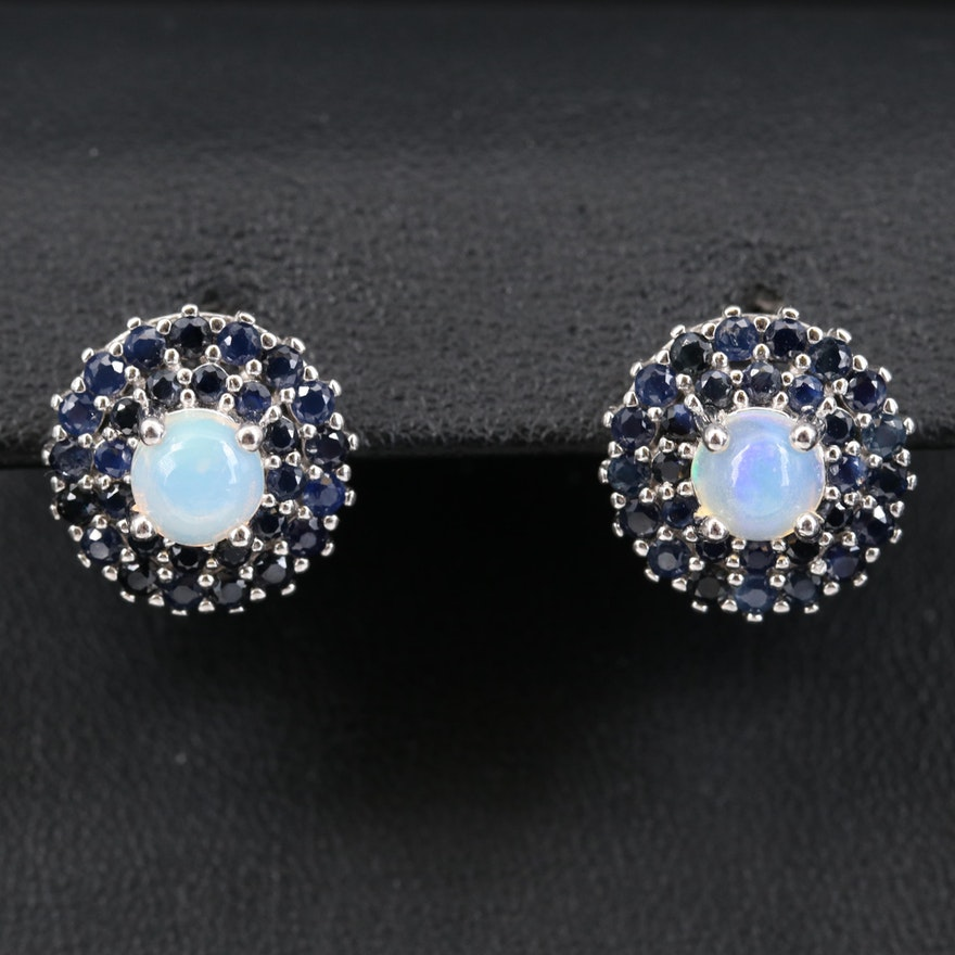 Sterling Opal and Sapphire Stud Earrings