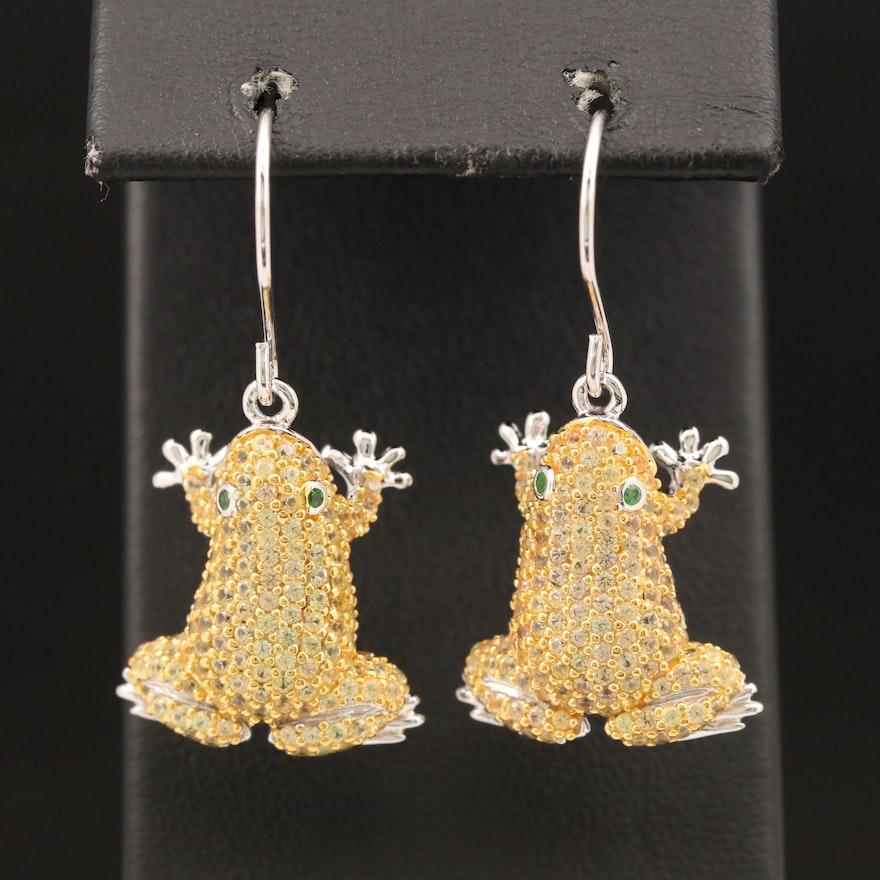Sterling Sapphire and Tsavorite Frog Earrings