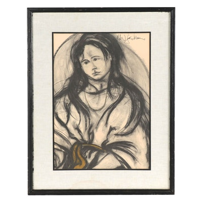 Halftone Print of Young Girl, Mid to Late 20th Century