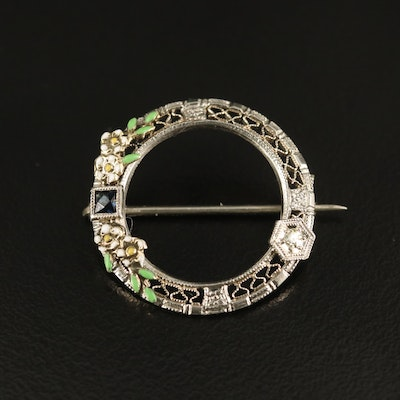 10K Sapphire and Diamond Openwork Floral Wreath Brooch