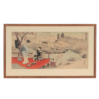 "Ogata Gekkō Woodblock Triptych ""Autumn Foliage Along the Takino River"""