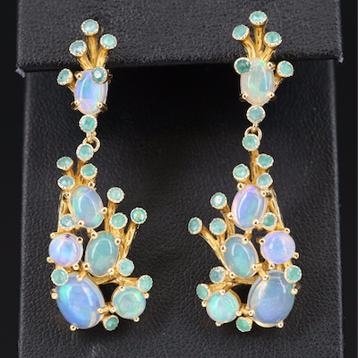 Sterling Opal and Beryl Dangle Earrings