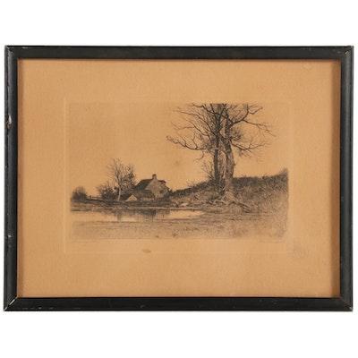 "Nan Lindahl Etching ""Morning Calm,"" circa 1910"