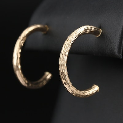 10K Textured Half Hoop Earrings