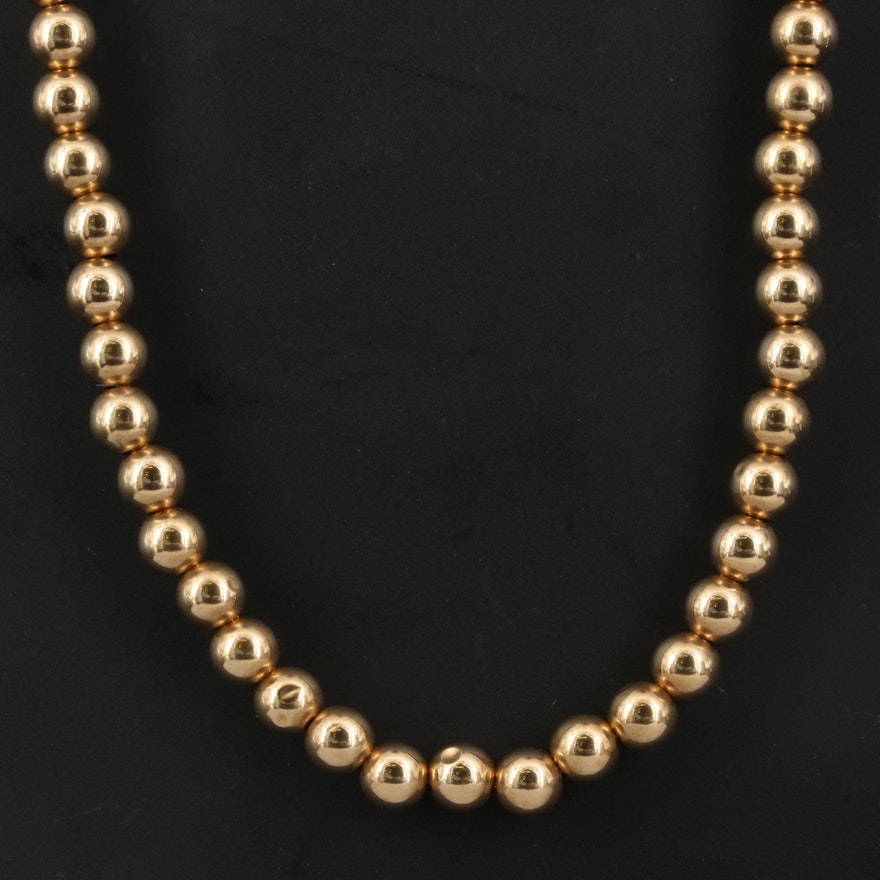 14K Beaded Chain Necklace