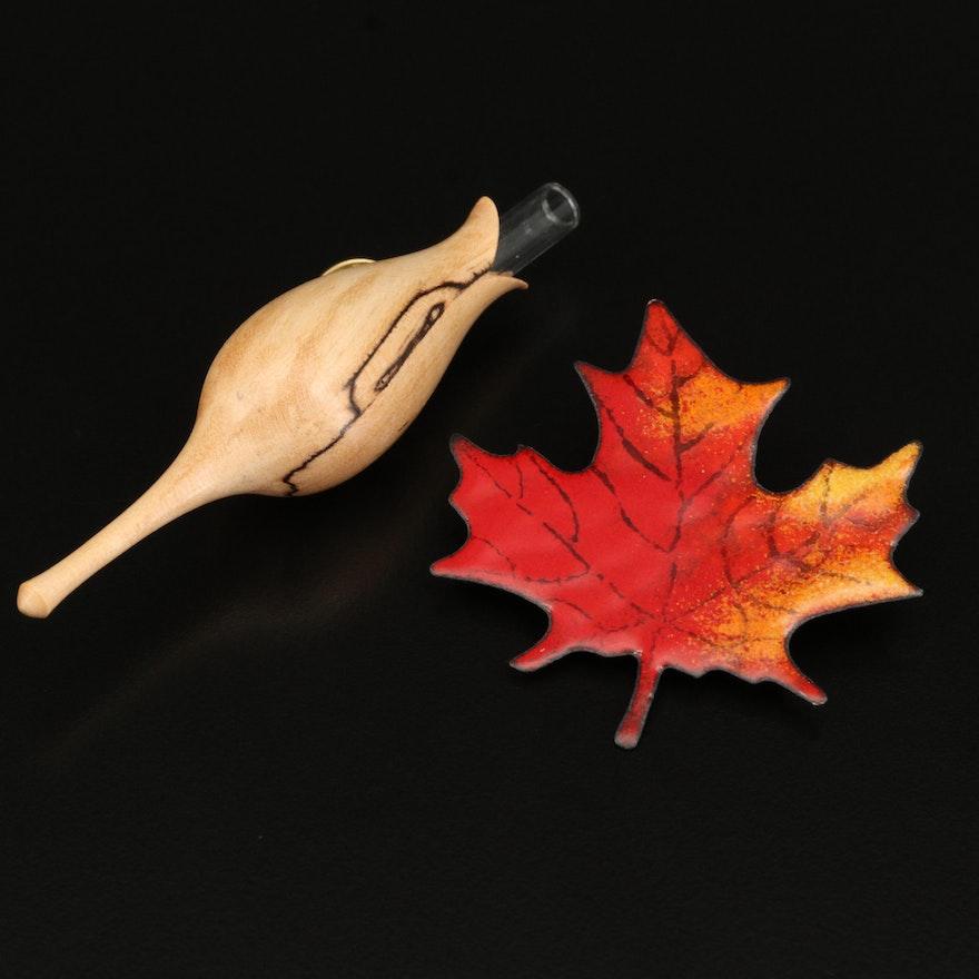 Enamel Maple Leaf Brooch and Wood Flower Bud Vase Brooch