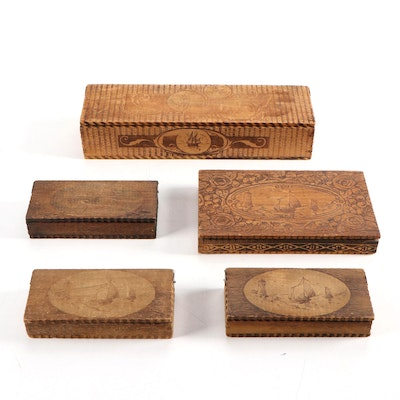 Pyrogravure Wooden Boxes with Nautical Motifs, Early 20th Century