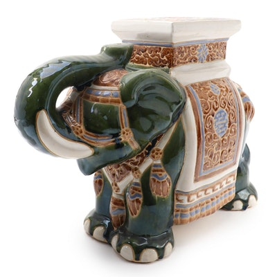 Glazed Earthenware Elephant Garden Seat