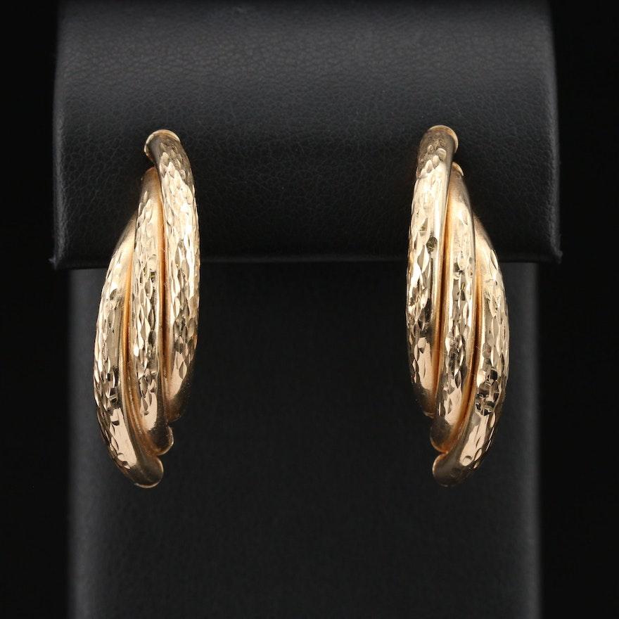 14K Twist Textured Drop Earrings
