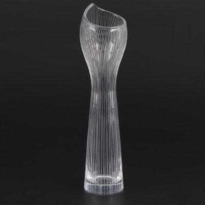 "Tapio Wirkkala Iittala Finland ""Foal Leg"" Line Cut Glass Vase"