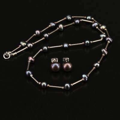 Sterling Silver Pearl Necklace and Earring Set