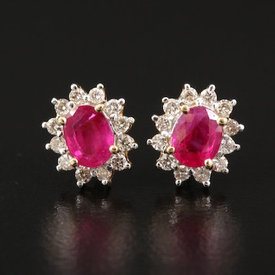 14K Ruby and Diamond Halo Stud Earrings