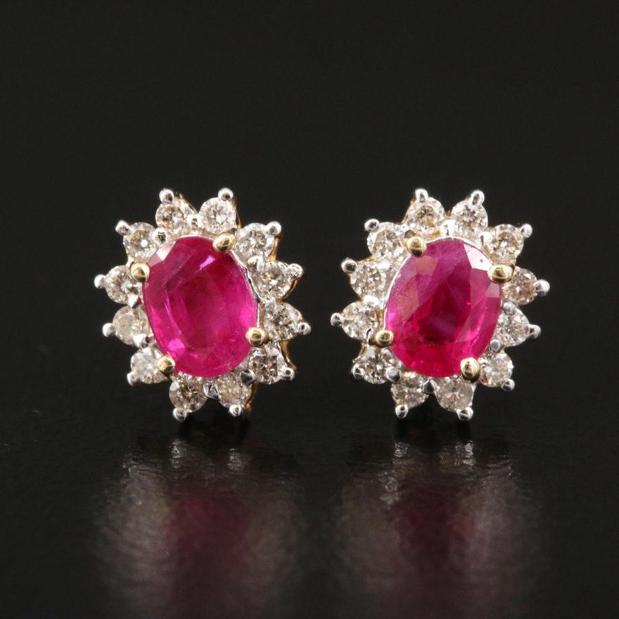 14K Ruby and Diamond Halo Stud Earrings