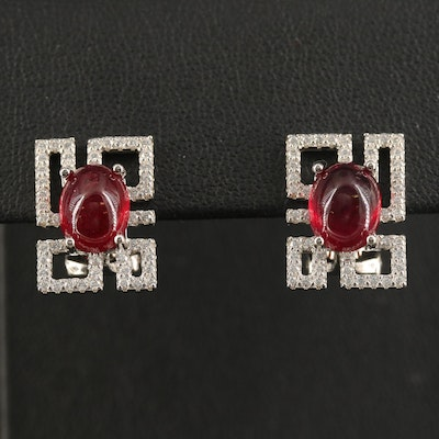 Sterling Geometric Earrings with Corundum and Cubic Zirconia