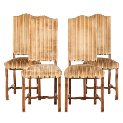 Spanish Revival Style Upholstered Walnut Dining Chairs with Nail Tack Detailing