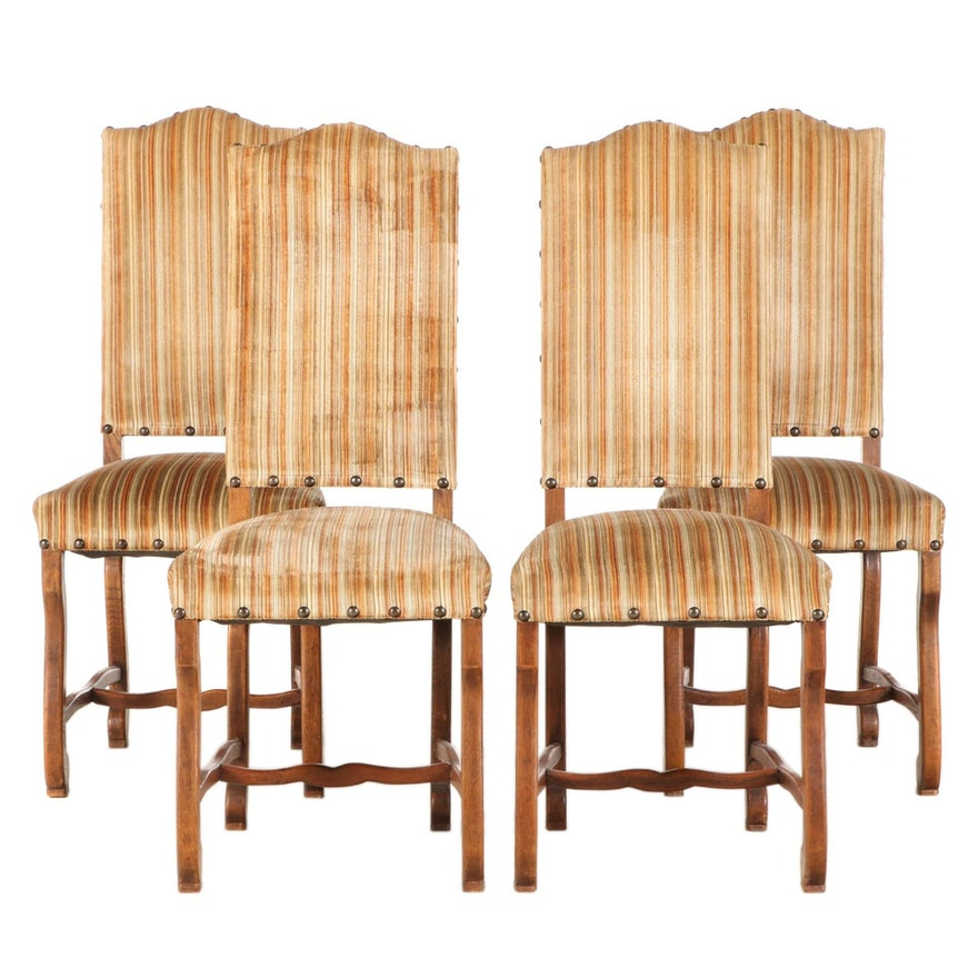 Four Louis XIIl Style Upholstered Oak Side Chairs