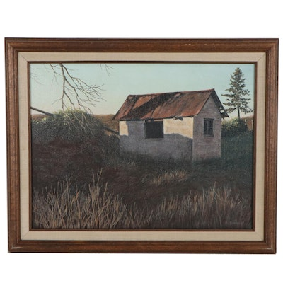 B. Simmons Oil Painting of Rural Landscape with Barn, Late 20th Century