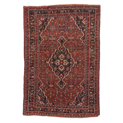 4'9 x 7'1 Hand-Knotted Persian Zanjan Rug, 1920s