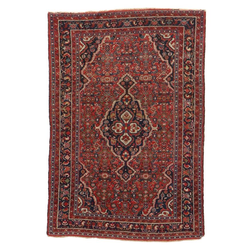 4'9 x 7'1 Hand-Knotted Persian Zanjan Rug, 1920s