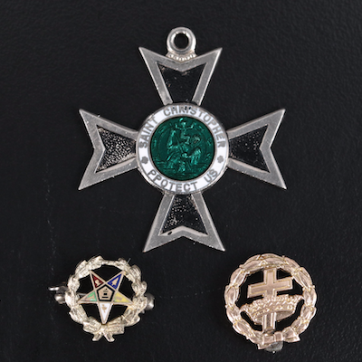 Order of the Eastern Star and Cross 10K Pins with Saint Christopher Pendant