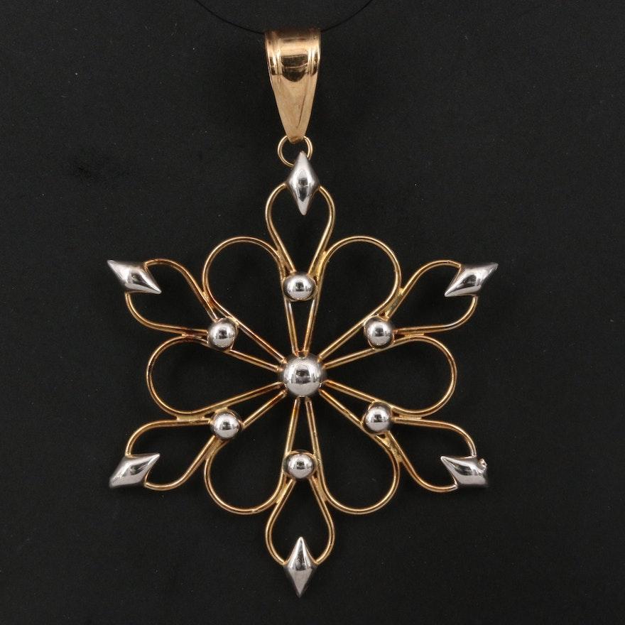 14K Wirework Snowflake Pendant