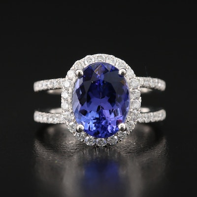 Platinum 4.00 CT Tanzanite Split Shank Ring with Diamond Halo