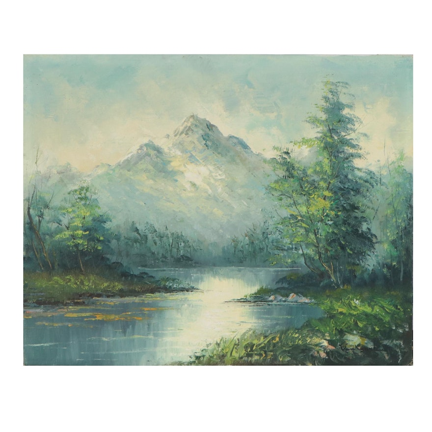 Mountain Landscape Oil Painting, Mid-20th Century