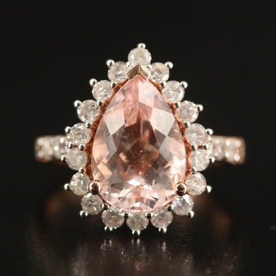 14K Rose Gold 3.43 CT Morganite and Diamond Halo Ring