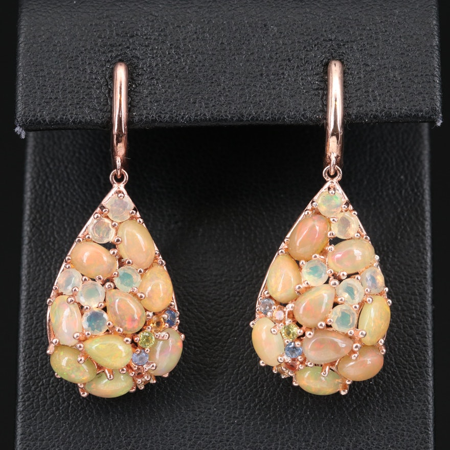 Sterling Opal and Sapphire Teardrop Dangle Earrings
