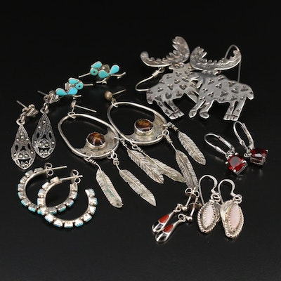 Sterling Earring Selection Including Fire Agate and Gemstones