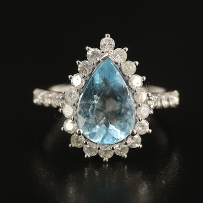 14K 2.36 CT Aquamarine and Diamond Halo Ring