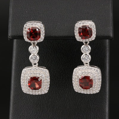 Sterling Garnet and Cubic Zirconia Halo Drop Earrings