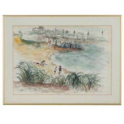 "Beachside Landscape Watercolor Painting ""Montauk,"" 1958"