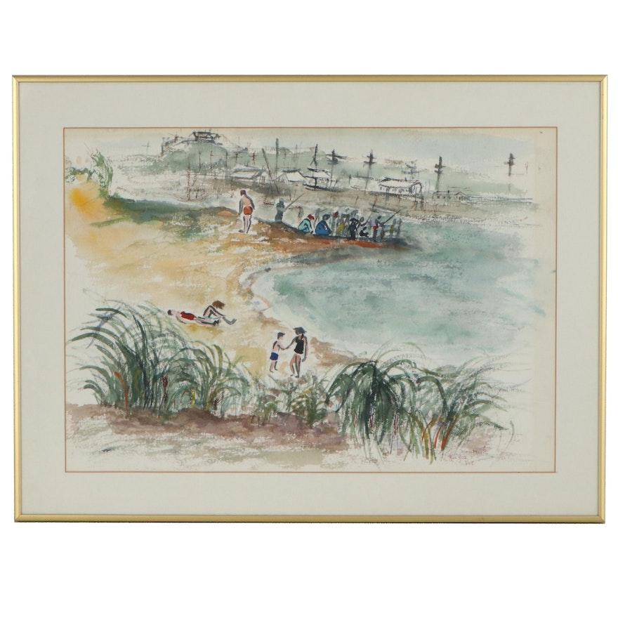 "Beachside Landscape Watercolor Painting ""Montauk,"" 1958"