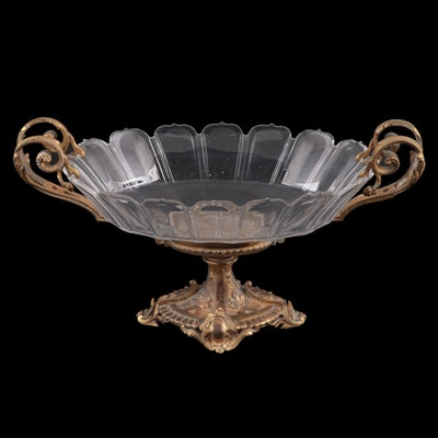Baroque Revival Style Gilt Brass Mounted Footed Centerpiece Bowl