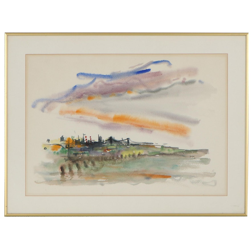 Abstract Skyline Watercolor Painting, 1960