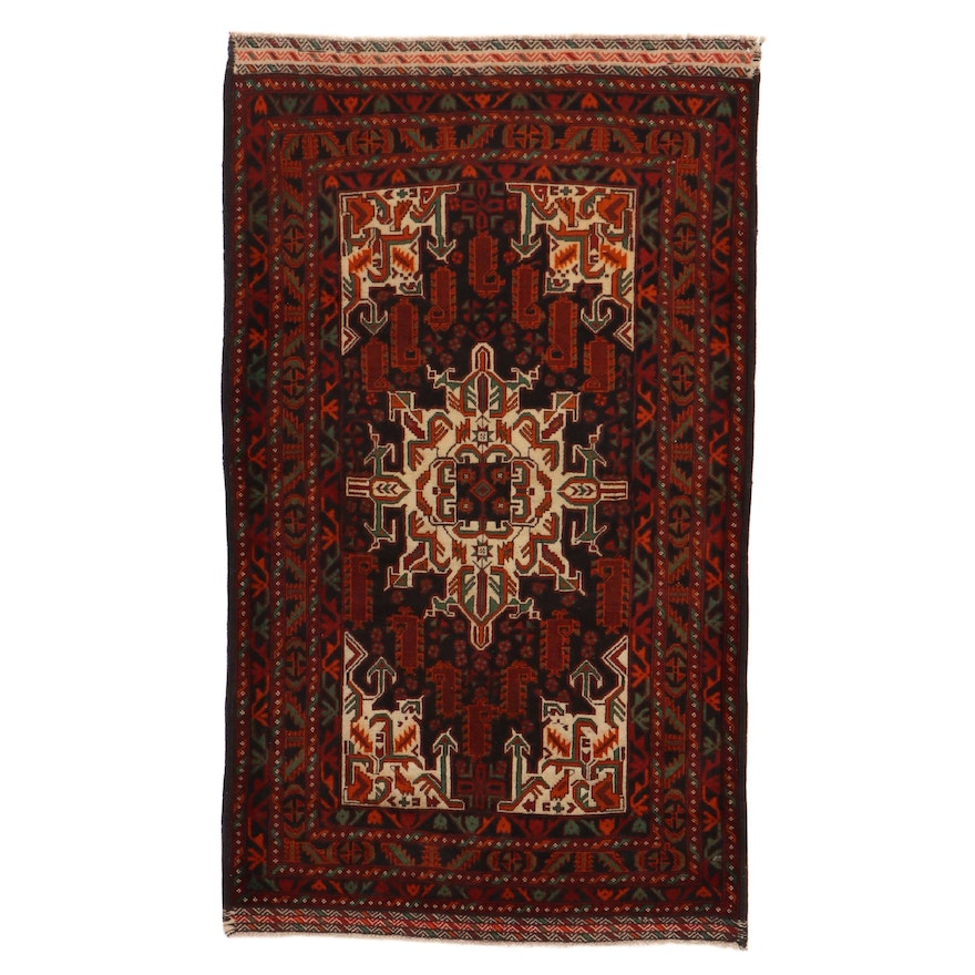 3'10 x 6'7 Hand-Knotted Persian Baluch Rug, 2000s