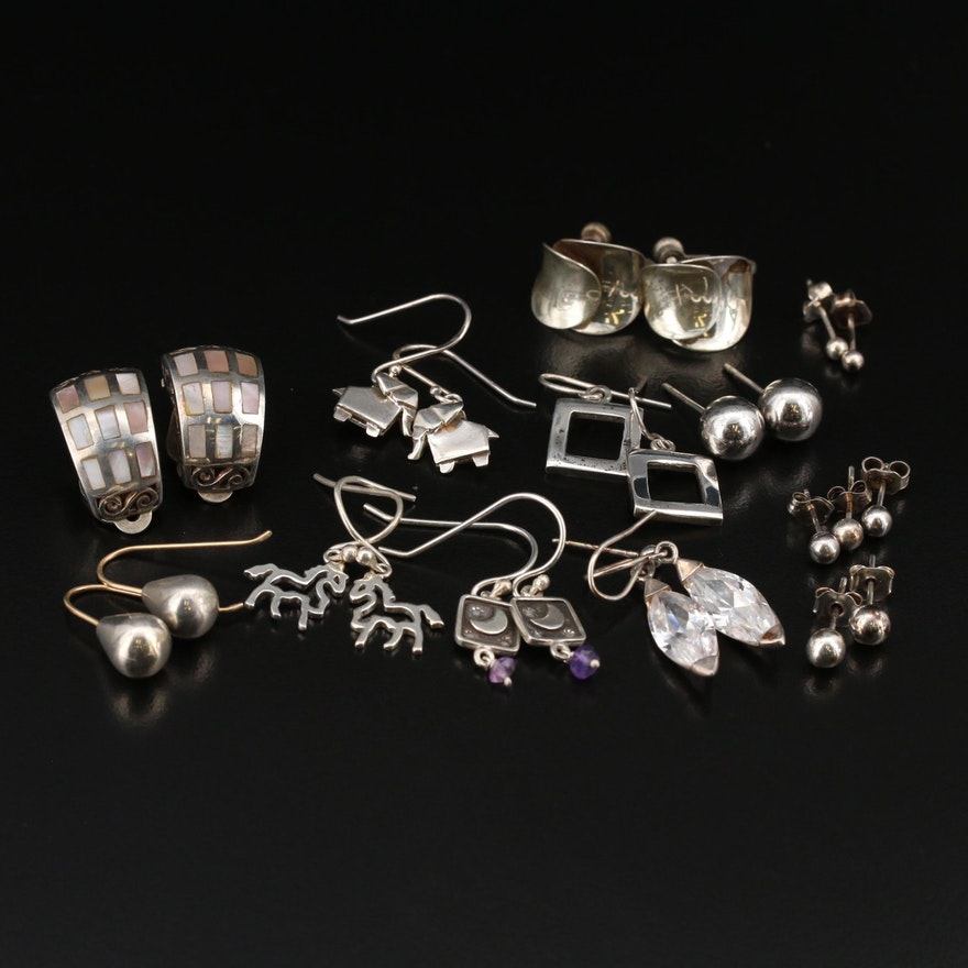 Sterling Mother of Pearl and Amethyst Earring Selection
