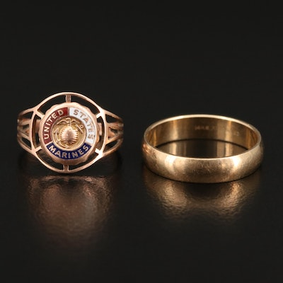 14K Band and 10K Enamel US Marines Ring