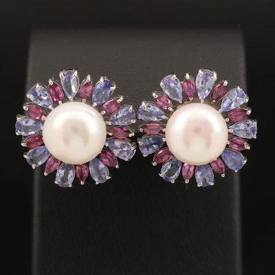 Sterling Pearl, Tanzanite and Rhodolite Garnet Button Earrings