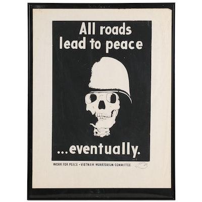 "Vietnam Moratorium Committee Silkscreen Protest Poster ""Work for Peace,"" 1970"