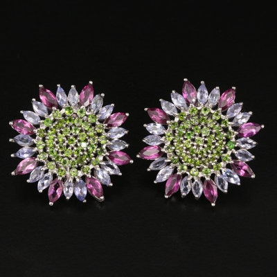 Sterling Flower Earrings Featuring Diopside, Garnet and Tanzanite