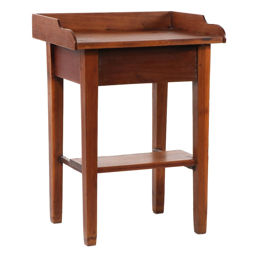 American Primitive Stained Pine Washstand; Late 19th Century