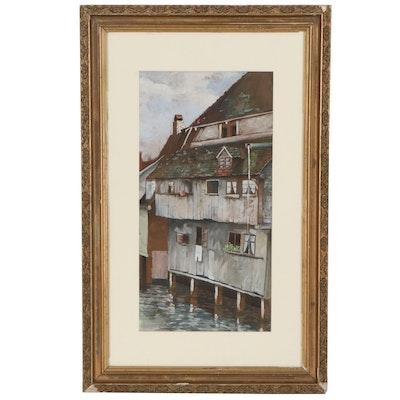 Gouache Painting of a Stilt House, 1923
