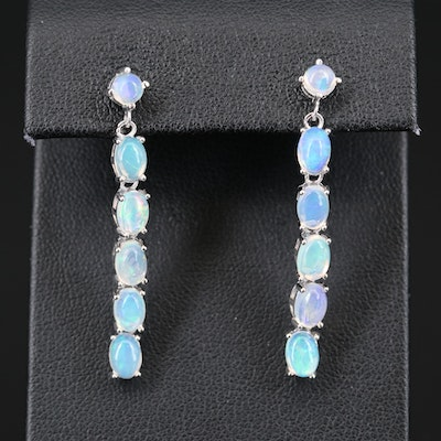 Sterling Opal Line Earrings